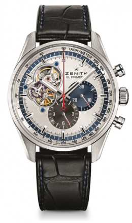 Zenith 1969 Chronomaster, in steel with crocodile strap, with visible escapement